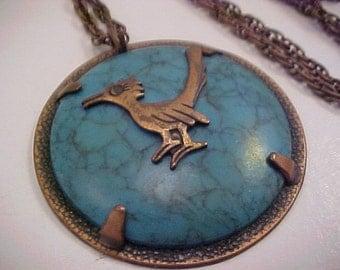 Vintage Road Runner Copper Pendant