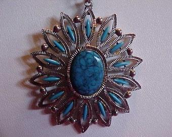 Vintage Shiny Faux Turquoise Large Pendant