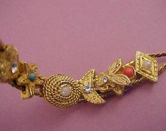 Vintage Goldtone Slider Bracelet, Rhinestones, Beads