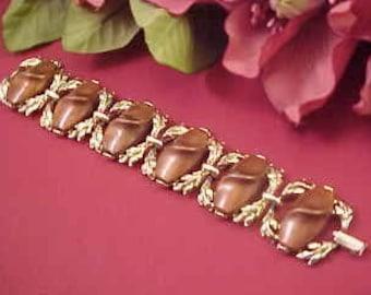 Vintage Silvertone and Shiny Brown Link Bracelet