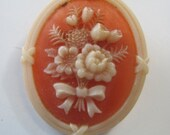 Vintage Avon Floral brooch Maybe soapstone 3 D effect brooch beautiful coral color