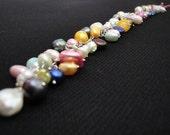 PEARL BRACELET - sterling silver color fresh water pearl bracelet - by carolina forero on etsy