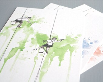 Window Washers - Postcards (Set of 3, Green, Blue and Red)