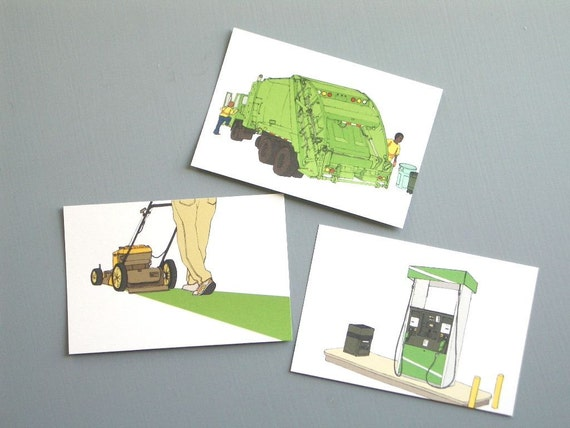 Suburban Machines - Postcards (Set of 3, Garbage Truck, Lawn Mower and Gas Pump)