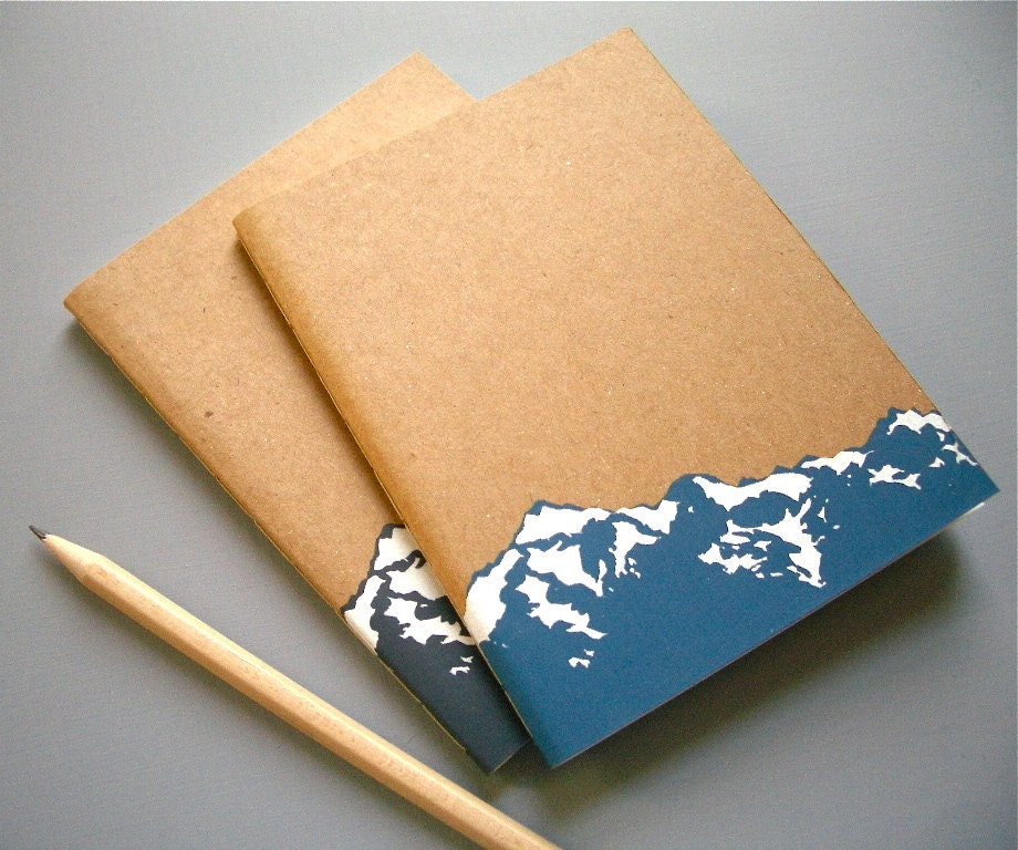 Small Mountain Notebook Journal Screen Printed Blank