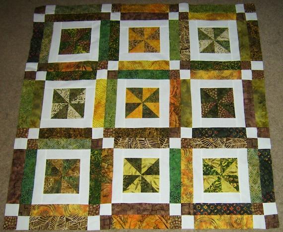 Earth Tone Batik Pinwheel Quilt Top (Unfinished)