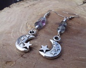 Flourite Moon and Stars  Wire Wrapped Earrings