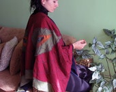 Rich, beautiful, handmade with embroideries and appliques, scarf - poncho OOAK