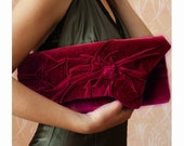 Unique, Handmade Evening Bag. Pleated sculpted cover bag. Love -Burgundy, Morello cherry clutch  Elegant retro Clutch Bag  Unique, Handmade