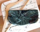 Elegant and Retro Aristocratic  Clutch Bag in green silk velvet plush, Unique, Handmade clutch
