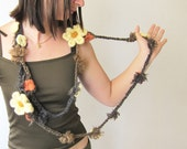 Reserved for Holly Crochet scarf necklace in Chocolate beige grey with small flowers and two cream crochet flowers brooch for Women or Ten