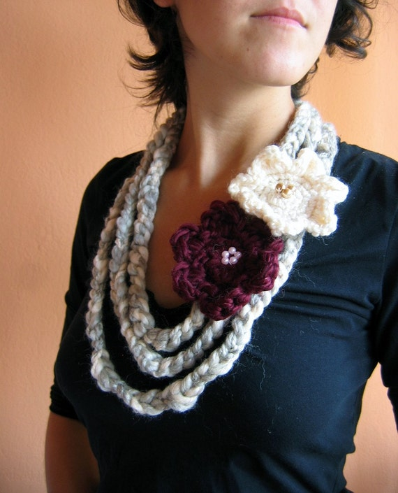 Grey and Cream Fiber Necklace/ Scarf with Magenta  and Cream Flowers