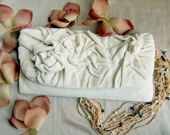 Love -  Unique  Cream Plush Clutch Handbag with two Roses Original design