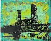 Steel Bridge Portland OR Aqua/Yellow/Red