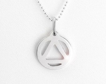 AA Symbol Sterling Silver Pendant