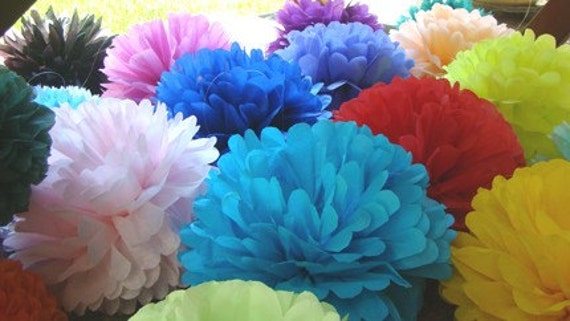 Set of 30 Tissue Paper Poms.....Wedding Reception / Party Decoration / Bar Mitzavah / Birthday .