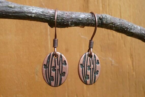 Brown Metal Earrings - oval