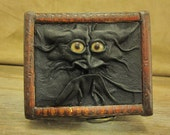 """Grichels leather and wooden trinket box - """"Mibity"""" 12968 - black with honey brown coyote eyes"""