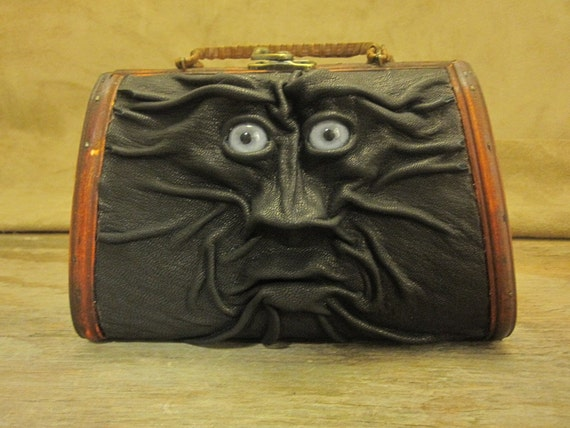 """RESERVED for cutelilpie - Grichels leather and wicker purse - """"Jezid"""" 13192 - black with blue wolf eyes"""