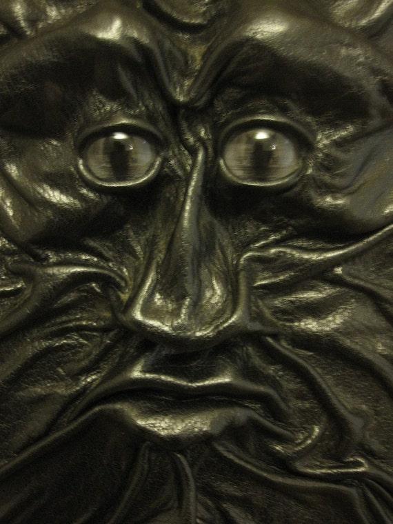 "Grichels leather clipboard - ""Skrixbert"" 13852 - glossy black with steel blue slit pupil shark eyes"