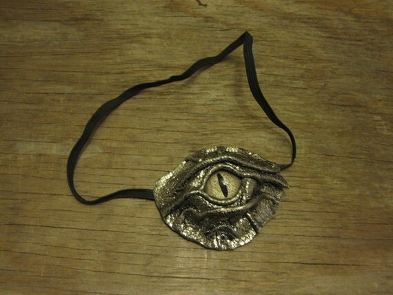 Grichels leather eyepatch - gold dragon scale with bronze speckled slit pupil reptile eye