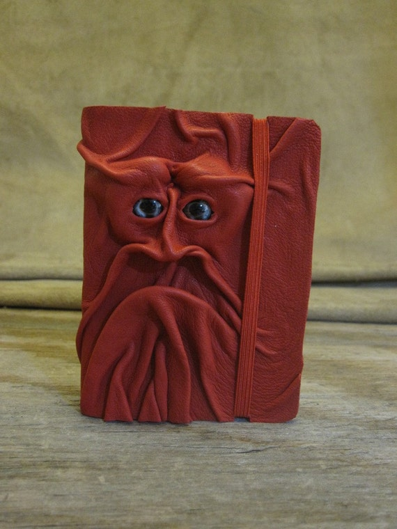 Grichels leather deluxe mini sketchbook - red with black, silver, and red panfish eyes