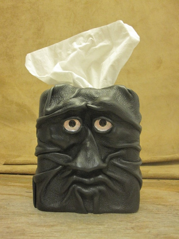 """Grichels leather tissue box cover - """"Blipsal"""" 15511 - black with custom silver metallic foil eyes"""