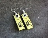 upcycled tape measure earrings