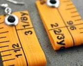 upcycled eco-friendly measuring tape - ruler earrings