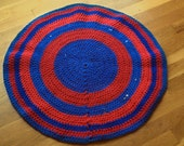 upcycled red and blue KU crocheted tshirt rug - area - bathroom - dorm - kitchen