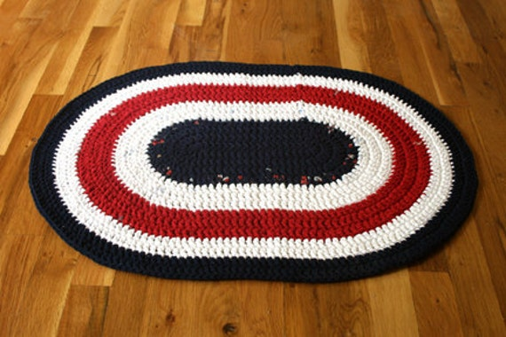 upcycled red, white and blue crocheted tshirt rug - area - bathroom - dorm - kitchen