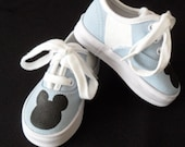 Mickey Mouse Light Blue Painted Lace Up Shoes
