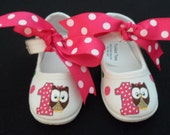 Birthday Owl Hand Painted Mary Jane Children's Shoes