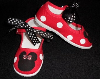 Minnie Mouse Hand Painted Red Mary Jane Shoes with Black Polka Dot Ribbon