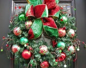 Traditional Christmas Wreath Red Green Designer Bow Door Wreath Ornament Wreath