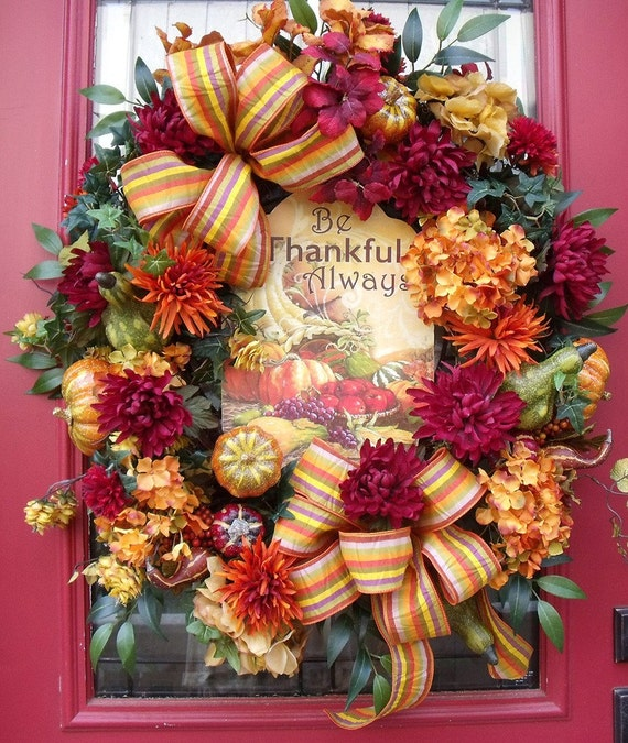 Thanksgiving Front Door: Fall Wreath Autumn Front Door Wreath Fall Outdoor Wreath