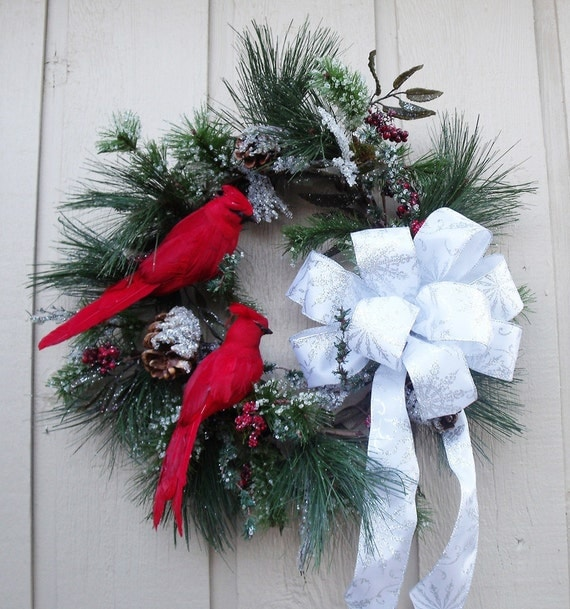Christmas Wreath Cardinals In The Icy Pine