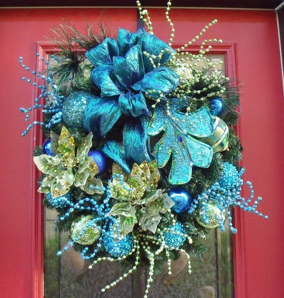 Christmas Wreath Teal Lime Royal Peacock Wreath Door Luxurious
