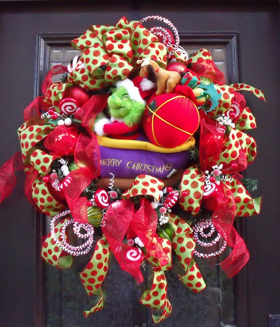Grinch Christmas Wreath Front Door Wreath Cute Kids Christmas