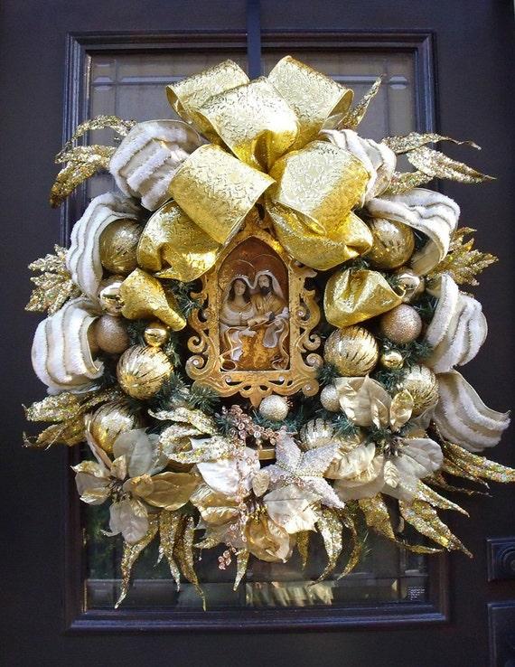 Christmas Wreath Holy Family Designer Elegant Nativity Door