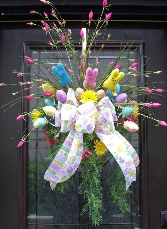 Easter wreath spring wreath easter wall basket floral Spring flower arrangements for front door