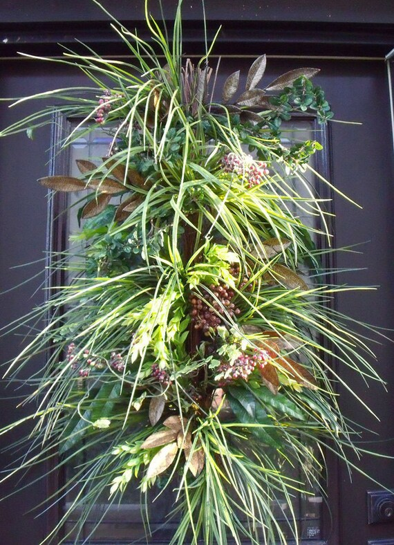 Summer Wreath Woodsy Grassy Swag Centerpiece Berry Wall Floral Arrangement Door Wreath Huge Luxe
