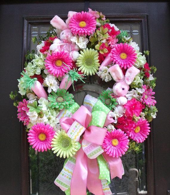 Easter Wreath Spring Wreath Bunny Door Wreaths Pink Lime Cute Designer Wreath