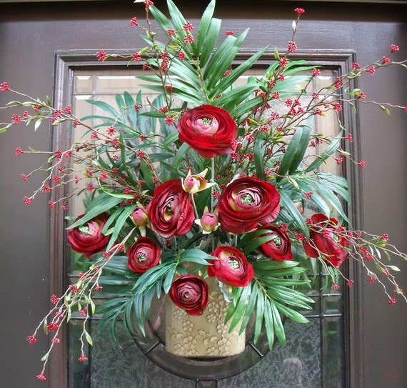 Red Door Wreath, Fall Wreaths, Wall Pocket, Ranunculus Wall Floral Arrangement, Christmas Wreaths For The Door