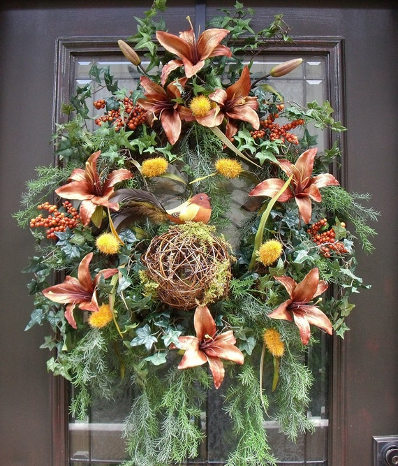 Fall Wreaths Front Door Wreath Brown Bird Wreath Caramel Forest