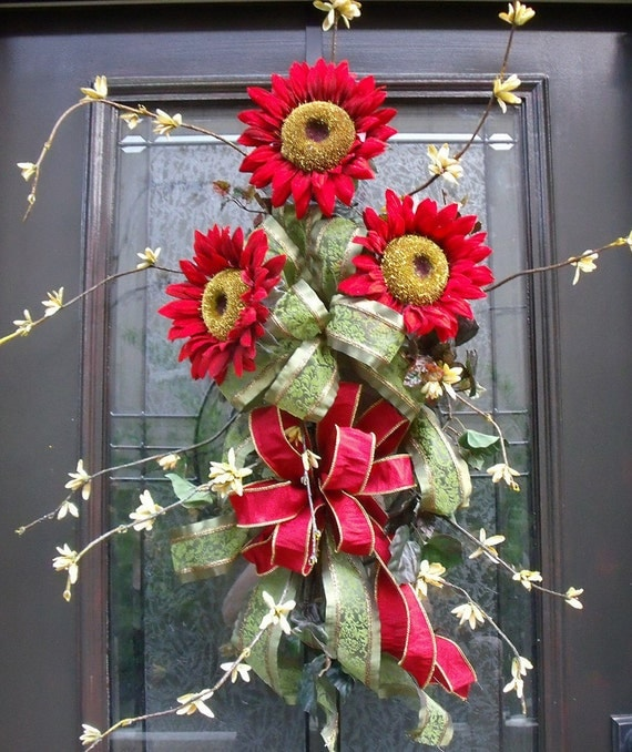 Red Sunflower Swag Summer Wreath Front Door Decoration