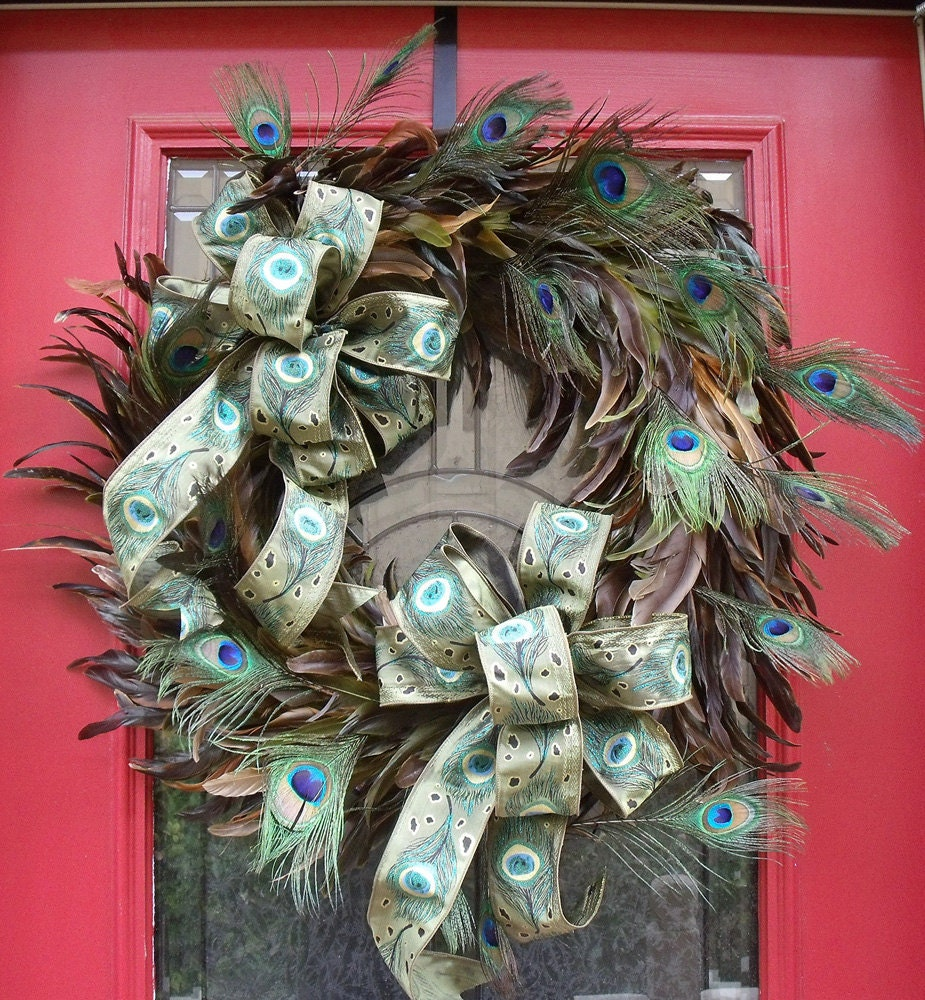 Door Wreath Peacock Serenade Peacock Feather Wreath Fall