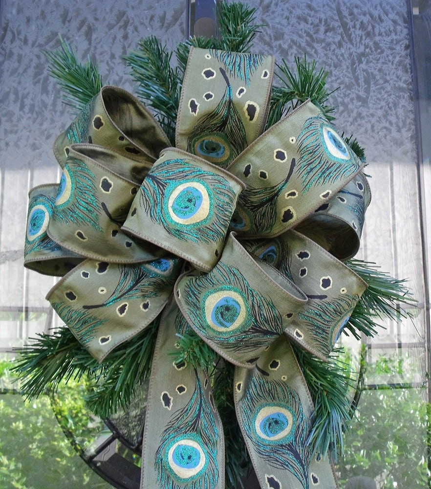 christmas tree topper bows peacock ribbon wreath by luxewreaths. Black Bedroom Furniture Sets. Home Design Ideas