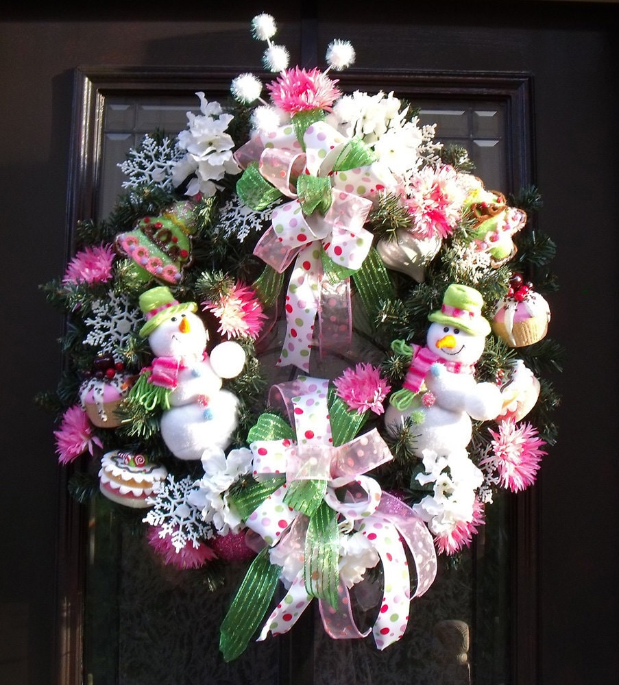 Christmas Wreath Sweet Treats Snowman Door Decoration Cute