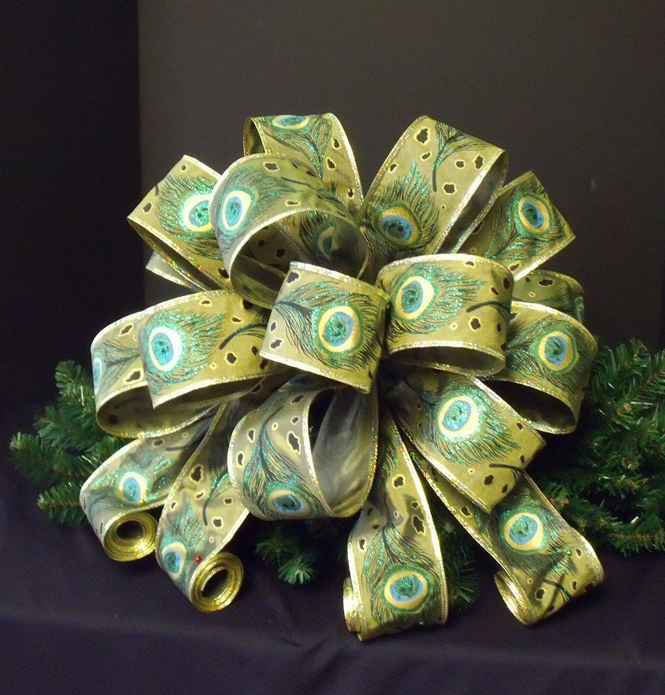 christmas tree topper peacock ribbon christmas bow tree topper. Black Bedroom Furniture Sets. Home Design Ideas